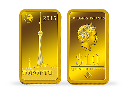 "Gold-Barrenmünze - ""Toronto - CN-Tower"""