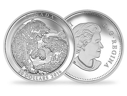 1 oz. Fine Silver Coin – Grizzly Bear: The Battle