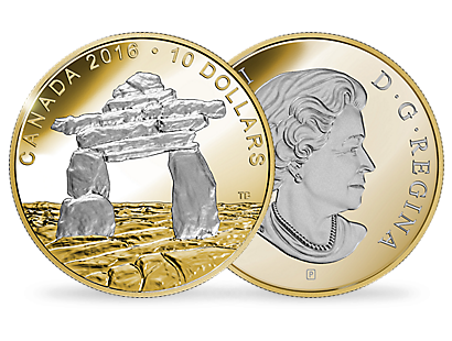 1/2 oz. Reverse Gold-Plated Fine Silver Coin – Iconic Canada: Inukshuk