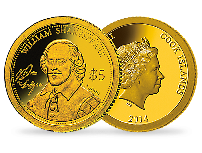 $5-Gold Coin 'Shakespeare' Cook Islands 2014