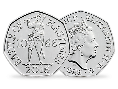50p Coin '950th anniversary of The Battle of Hastings' 2016 UK