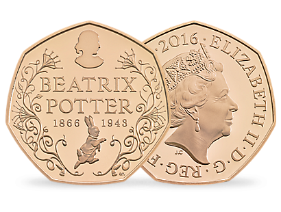 150th Anniversary of Beatrix Potter 2016 50p Gold Proof Coin