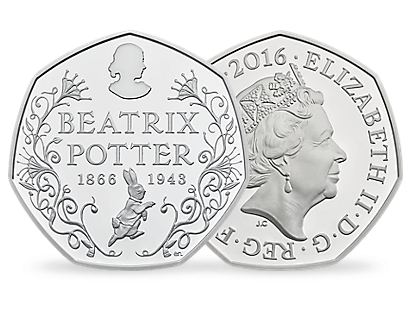 150th Anniversary of Beatrix Potter 2016 50p Silver Proof Piedfort Coin