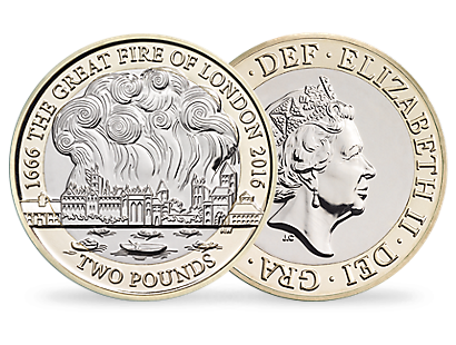 350th Anniversary of the Great Fire of London 2016 £2 Brilliant Uncirculated Coin