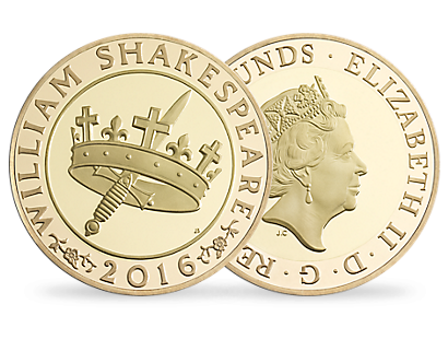 'The Shakespeare Histories' £2 Gold Proof Coin 2016 UK
