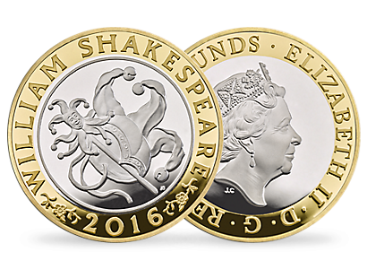 'The Shakespeare Comedies' £2 Silver Proof Piedfort Coin 2016 UK