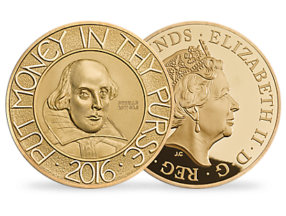The Shakespeare 2016 5 oz Gold Proof Coin