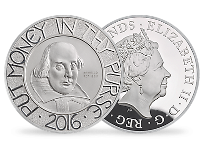 The Shakespeare 2016 5 oz Silver Proof Coin
