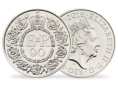 The 90th Birthday of Her Majesty The Queen 2016 UK £5 Brilliant Uncirculated Coin