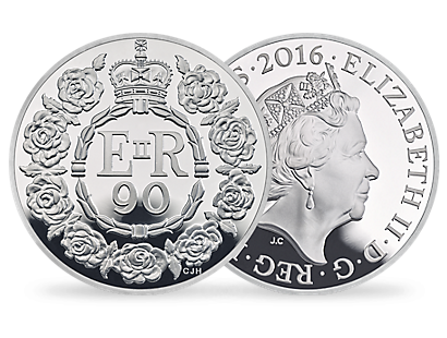 The 90th Birthday of Her Majesty The Queen 2016 UK £5 Silver Proof Coin