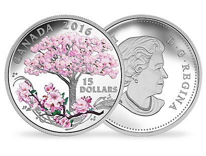 Cherry Blossoms $15 Fine Silver Coin