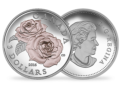 Pure Silver Coin featuring Queen Elizabeth Rose with Selective Rose Gold Plating