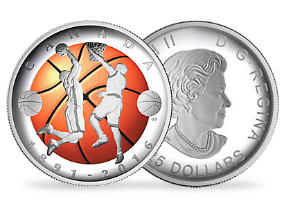 A coloured convex-shaped coin to commemorate the 125th anniversary of basketball.