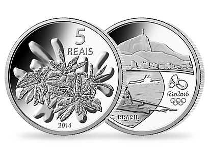 The official Olympic coins from Brazil for Rio in 2016 - Set of 4: theme 'Flora'