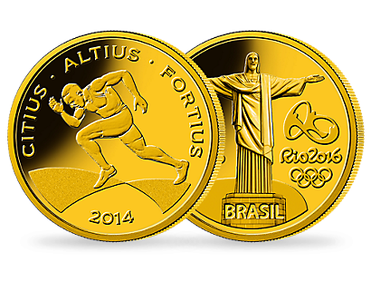 The first gold coin 'Sprint' for the 2016 Olympic Games in Rio de Janeiro