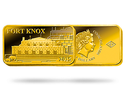 Monnaie Lingot de 5 Dollars en or pur «Fort Knox» 2015