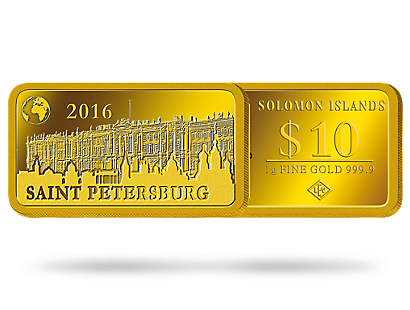 Monnaie lingot de 10 Dollars en or pur «Saint Petersbourg» 2016
