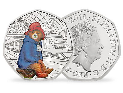60th Anniversary of Paddington Bear – Paddington Bear at Paddington Station 2018 UK 50p Silver Proof Coin