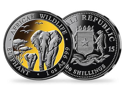 African Elephant Collection 2015 Gold & Rutherium Coins