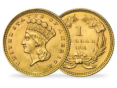 Das 2er Gold-Set ''Liberty Head 1861 - Abraham Lincoln''