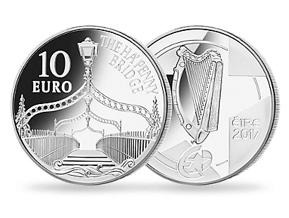 Irlands 10-Euro-Silbermünze ''The Ha'penny Bridge'' 2017