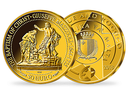 Maltas 50-Euro-Goldmünze ''Die Taufe Christi'' 2018