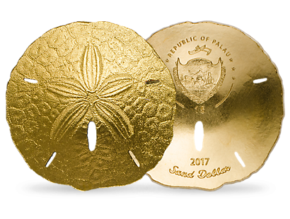 Sand Dollar aus reinstem Gold (999,9/1000)