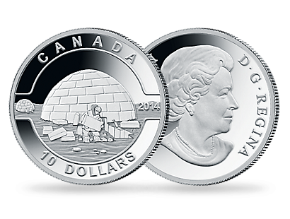 O Canada Collection - Igloo 2014 $10 1/2 oz. Fine Silver Coin
