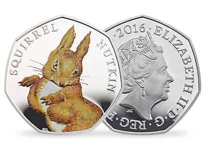 Squirrel Nutkin 2016 UK 50p Silver Proof Coin