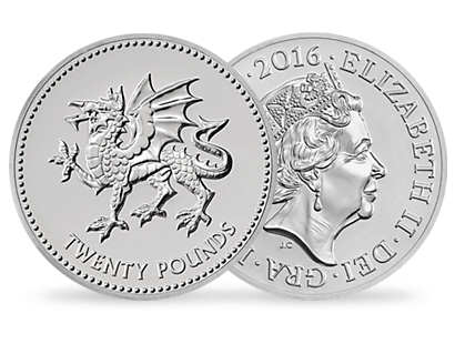 £20 Silver Coin - Welsh Dragon Celebration coin