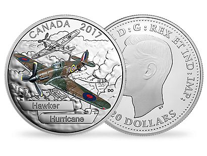Aircraft of the Second World War - Hawker Hurricane Fine Silver Coin