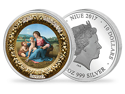 Perfection in Art - Alba Madonna 2017 $10 2oz Silver Coin