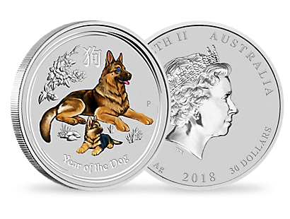 Australian Lunar Series II - Year of the Dog 2018 1 Kilo Silver & Sapphire Coin