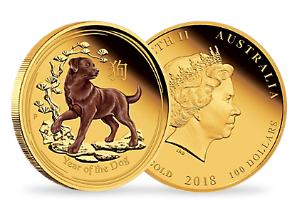 Australian Lunar Series II - Year of the Dog 2018 1oz Gold Proof Coloured Edition