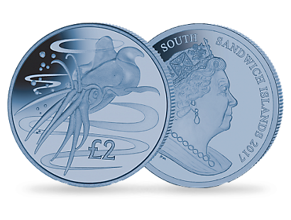 Colossal Squid 2017 £2 Blue Titanium Coin