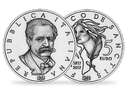 200th Anniversary of the Birth of Francesco De Sanctis €5 Silver Coin