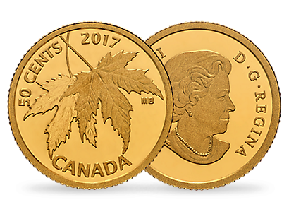 The Silver Maple Leaf 2017 50 Cent Pure Gold Coin