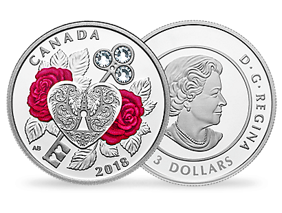Celebration of Love 2018 1oz Silver Coin with Swarovski® Crystals