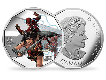 The Justice League - Wonder Woman & The Flash 2018 $20 Fine Silver Coin