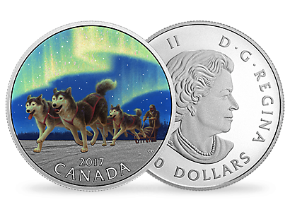 Dog Sledding Under The Northern Lights $10 Fine Silver Coin