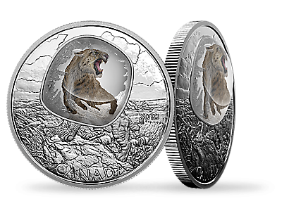 Frozen in Ice: Scimitar Sabretooth Cat 2018 $20 Fine Silver Coin
