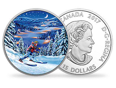 Great Canadian Outdoors: Night Skiing $15 Fine Silver Coin