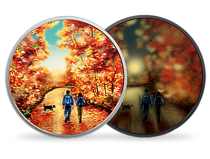 Great Canadian Outdoors: Nature Walk At Sunrise 2017 $15 Fine Silver Coin