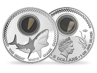 The Great White Shark 2014 $5 Silver Commemorative Coin