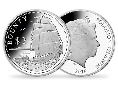 HMS Bounty 2015 $2 Silver Proof Coin