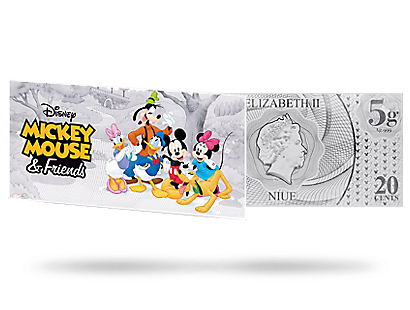 Mickey Mouse & Friends 2017 5g Silver Coin Note