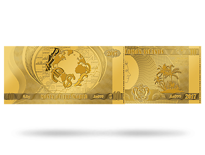 'Money of the World' Gold Prooflike Coin Note