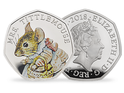 Peter Rabbit & Friends - Mrs Tittlemouse 2018 Silver Proof 50p Coin