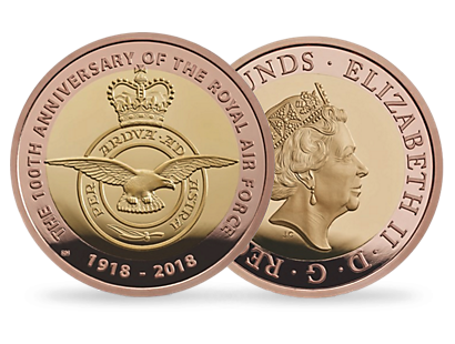 RAF Centenary Badge 2018  £2 Gold Proof Coin