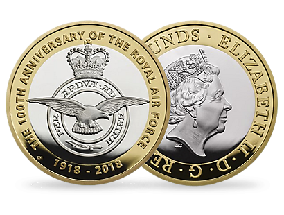 RAF Centenary Badge 2018 £2 Silver Proof Piedfort Coin